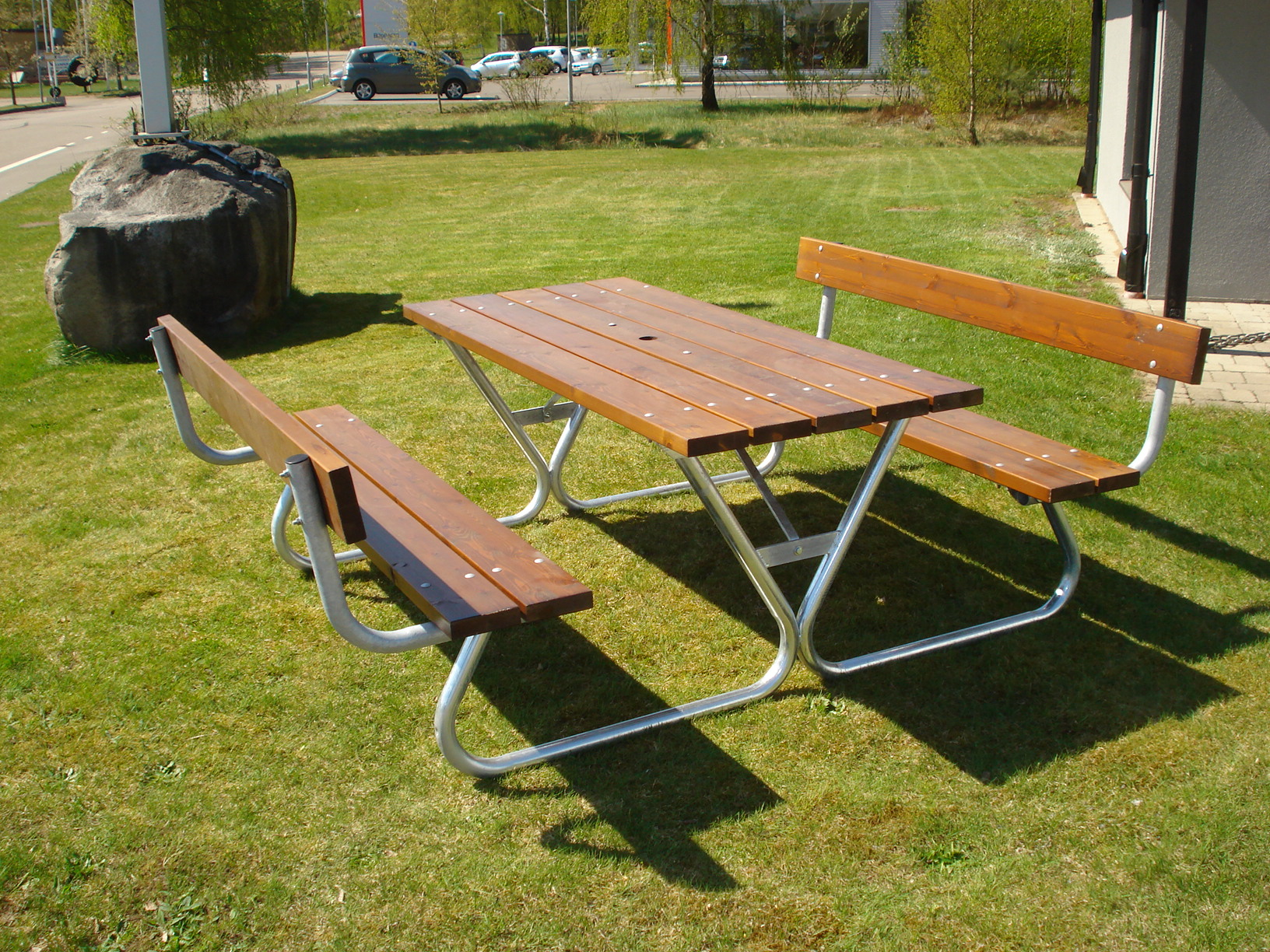 Robust Picnic With Backrest Eden Wood - Picnic table with backrest