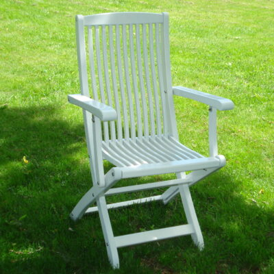 Café Klara Folding Chair with Armrests White Eden Wood